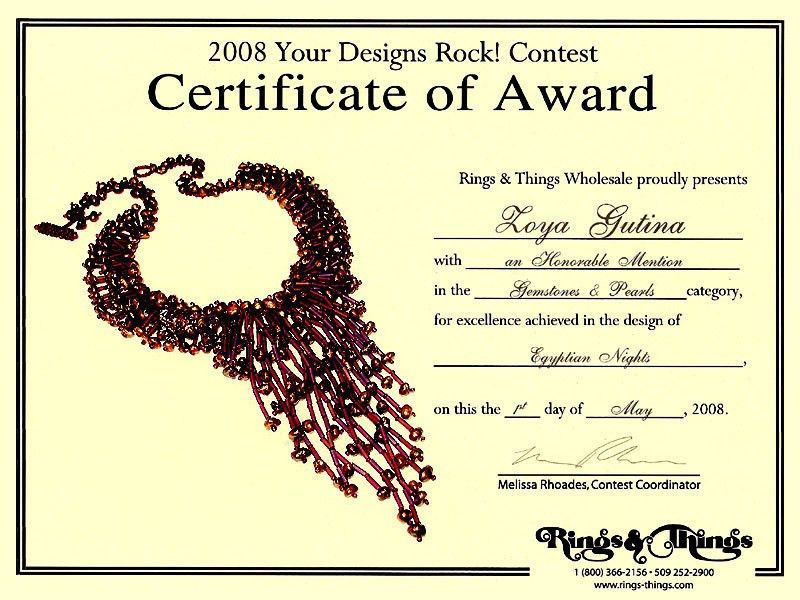 2008 Gemstone and beaded jewelry contest: Honorable Mention Winner ...