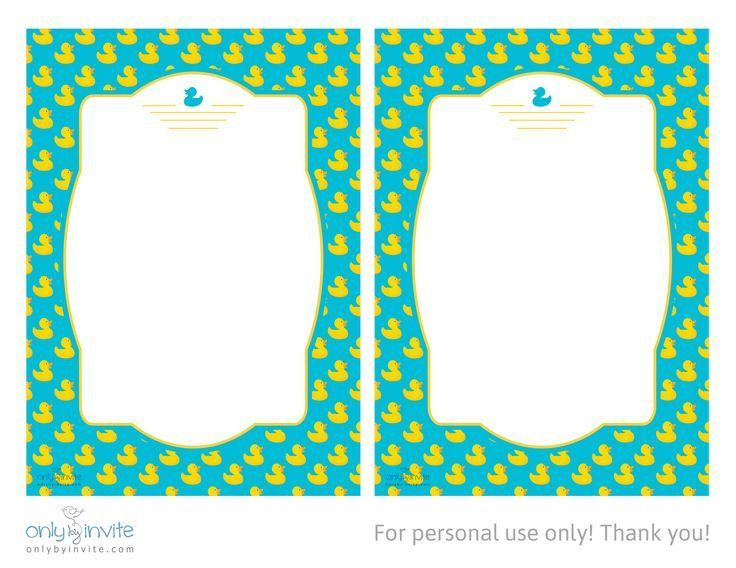 Tropical Printable Rubber Ducky Baby Shower Invitations and ...