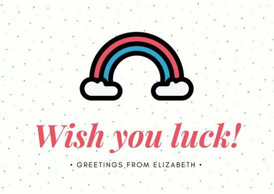 Cream, Blue And Red Rainbow And Dots Good Luck Card   Templates By .  Good Luck Card Template