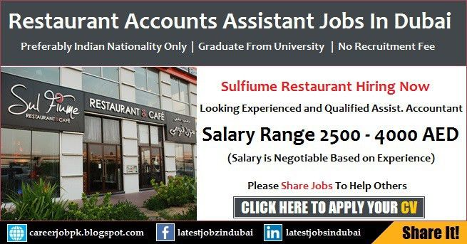 Assistant Accountant Jobs in Dubai Restaurant Current Vacancies