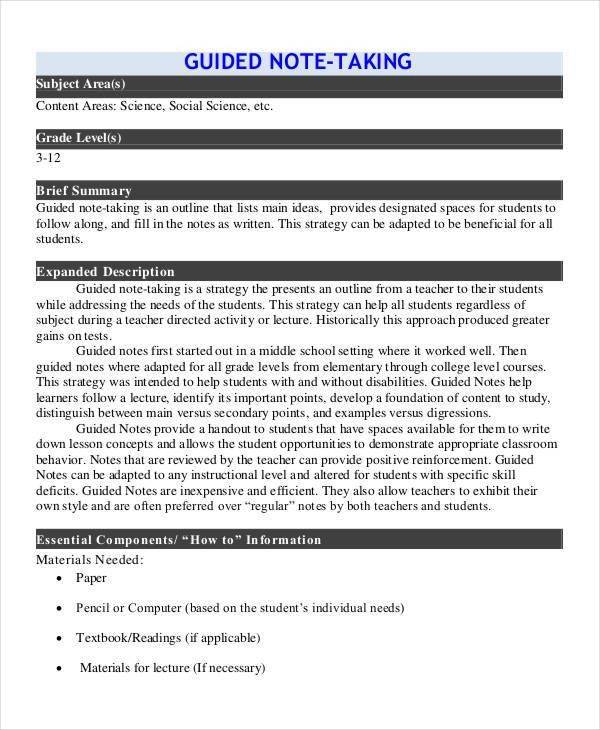 Guided Note Templates - 6 Word, PDF Format Download | Free ...