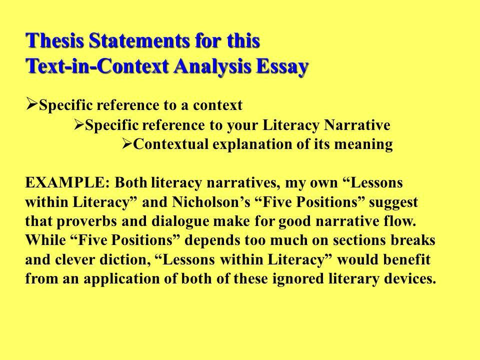 Thesis Statements for this Text-in-Context Analysis Essay - ppt ...