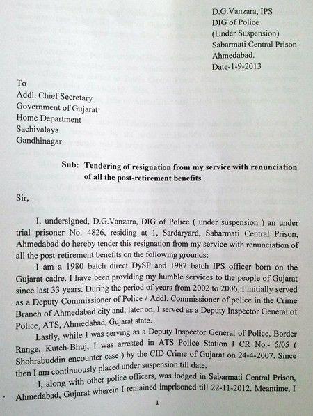Former Gujarat cop DG Vanzara's resignation letter : Gujarat, News ...