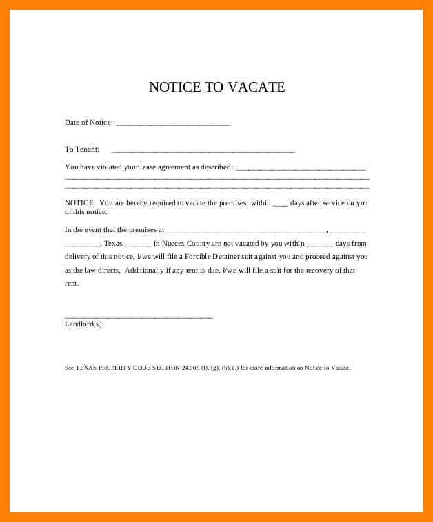 8+ notice to vacate form | pattern resume