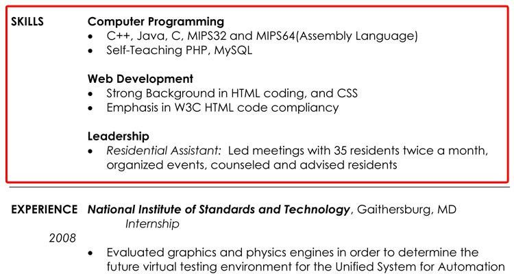 Skills Section Of Resume Examples | berathen.Com