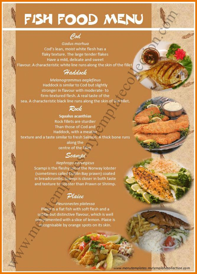 Free Menu Design Templates.Fish Food Menu Template.png | Scope Of ...