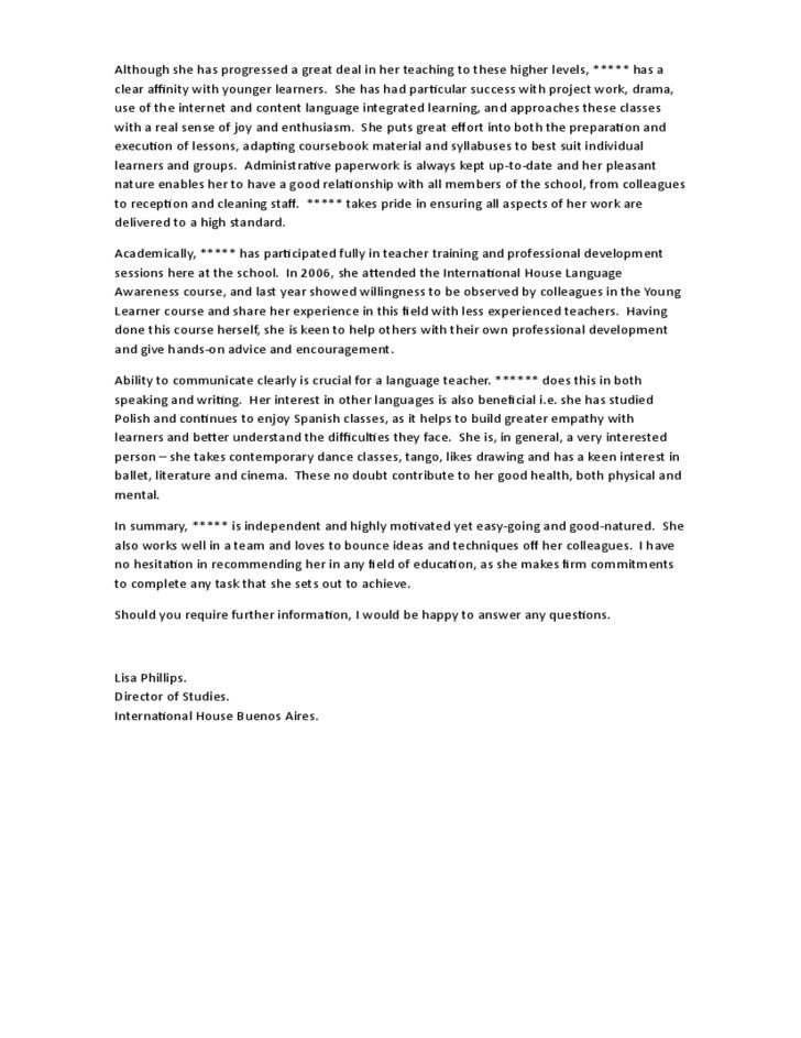 Sample Character Reference Letter for Advanced Students Preparing ...