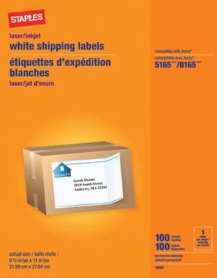 """Staples® White Inkjet/Laser Full Sheet Shipping Labels, 8-1/2"""" X ..."""