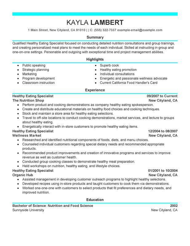 Unforgettable Food Specialist Resume Examples to Stand Out ...