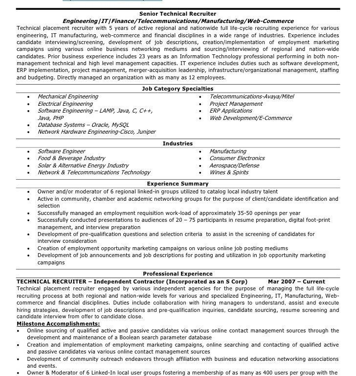technical recruiter resume samples corporate recruiter resume ...