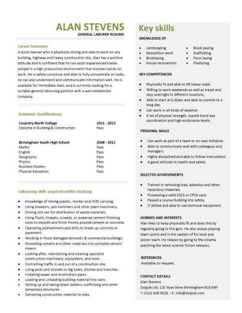 Construction CV template, job description, CV writing, building ...