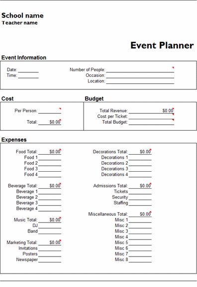 MS Excel Event Planner Template | MS Excel Templates | Ready-Made ...