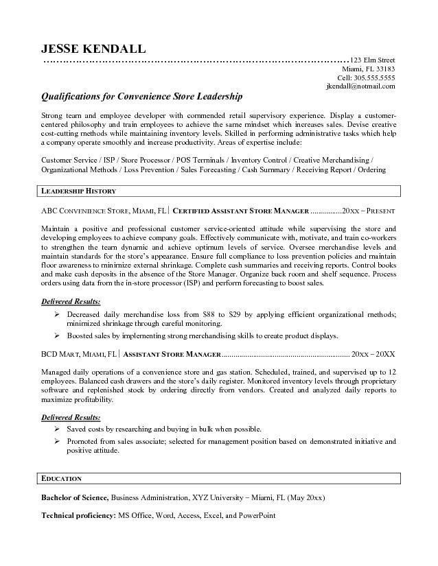 Retail Manager Resume Objective | The Best Letter Sample