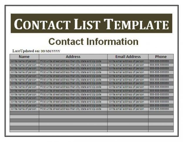 Business Contact List Contact List Template Word : Selimtd