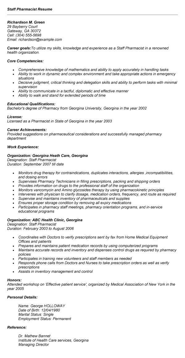 Pharmacist Resume Format India #13 | resume | Pinterest | Resume ...