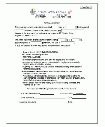 Printable Sample Rental Agreement Template Form | Real Estate ...