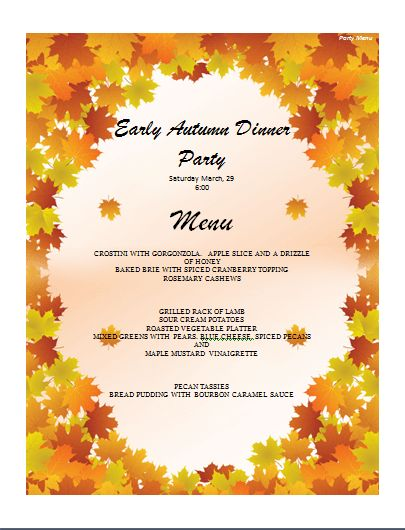 Party Menu Template | Microsoft Word Templates