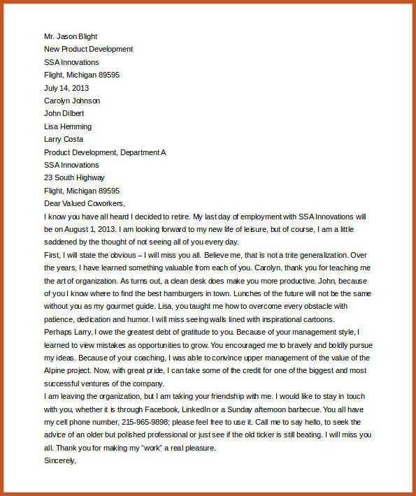 retirement letter sample   sop example