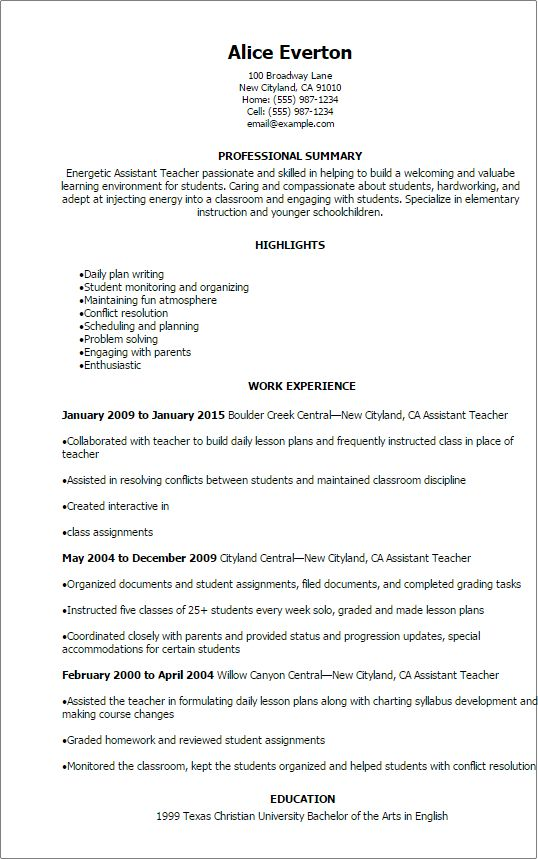 Professional Assistant Teacher Resume Templates to Showcase Your ...
