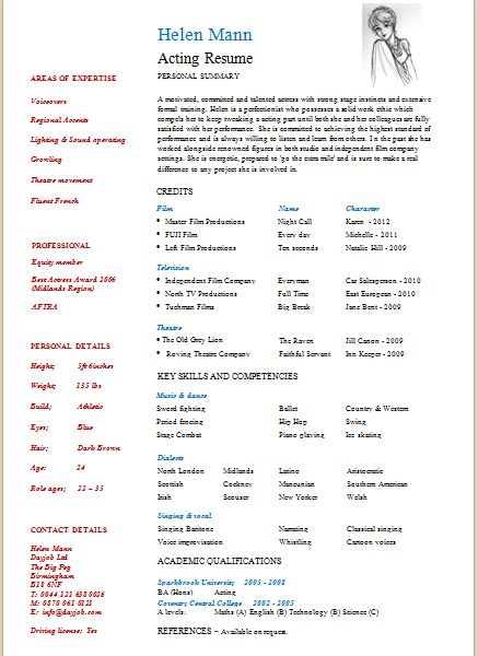 Marvelous Idea Build Your Own Resume 12 Acting Resume Template ...
