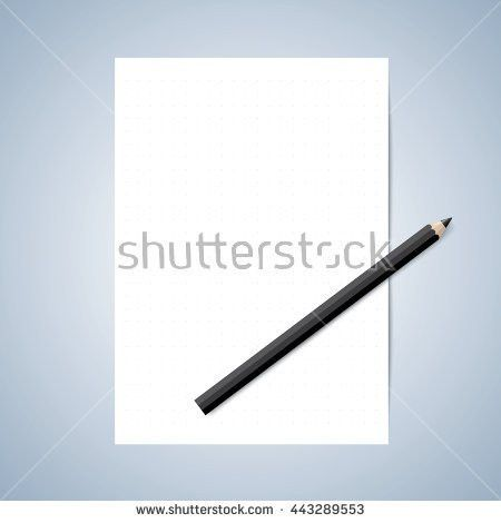 Vector Paper Pencil Blank Paper Lined Stock Vector 443289556 ...