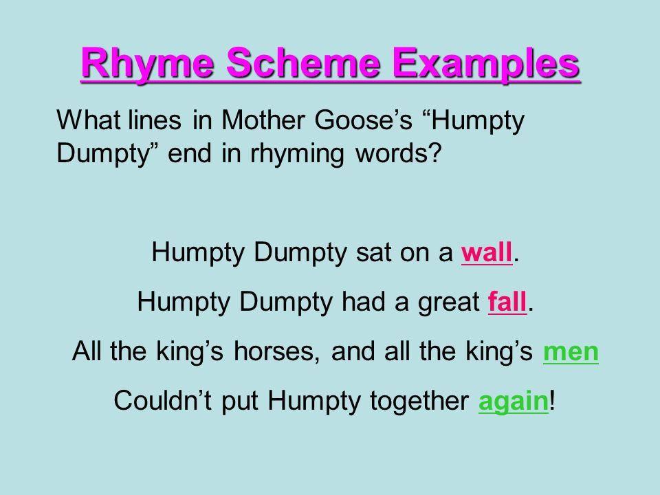 Rhyme Scheme Rhyme scheme is the pattern in which the last words ...