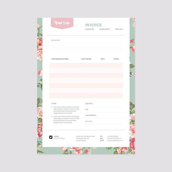 Floral Invoice Template Receipt Template Format Photoshop