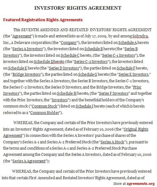 Investors Rights Agreement, Sample Investors Rights Agreement .