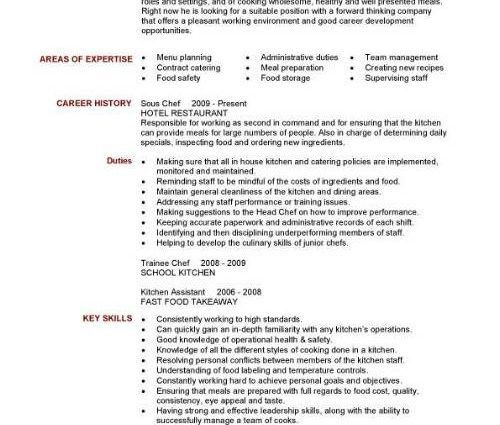 sous chef resume personal summary duties and skills ...