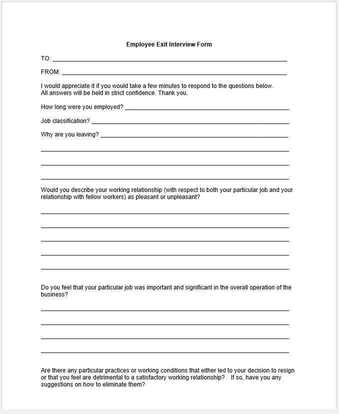 Employee Exit Interview Questionnaire Template – Clickstarters