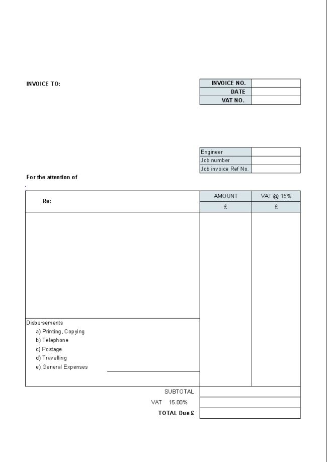 Simple Service Billing Invoice Template Sample with Table Form for ...