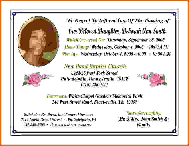 Funeral Announcement Sample [Template.billybullock.us ]