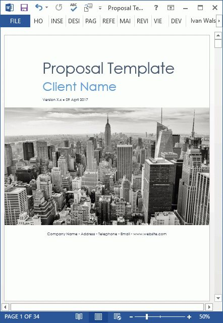 Proposal Templates (10 X MS Word Designs + 2 X Excel Spreadsheets)