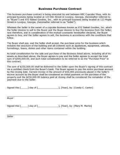 Sample Business Contract Template. Free Contracts And Templates ...