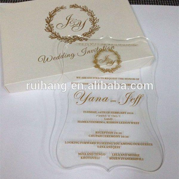 Clear Acrylic Die Cut Wedding Invitations For Elegant Wedding ...