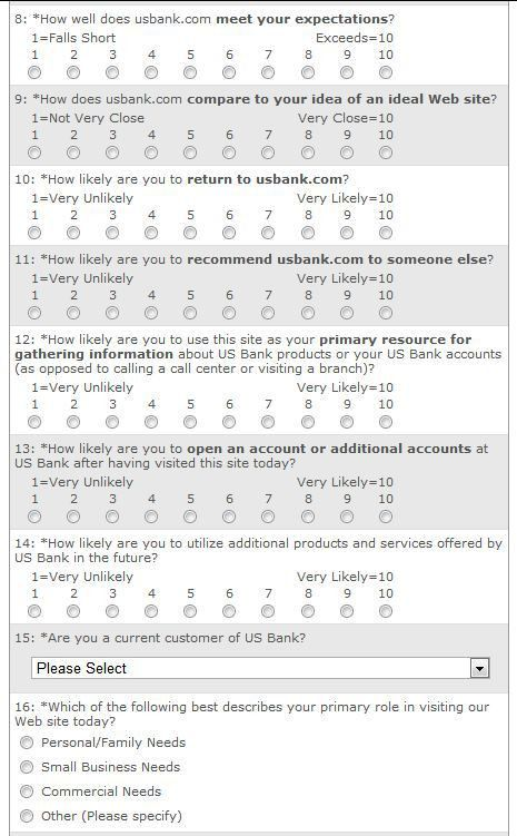 Website Usability Survey Questions from US Bank