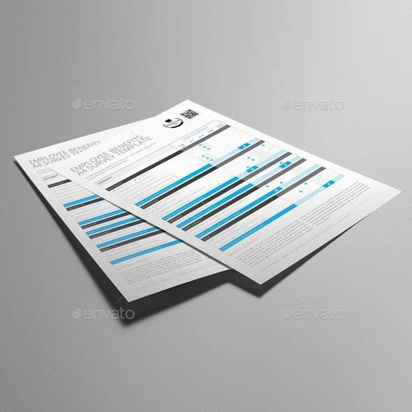Employee Benefits Survey A4 Template by Keboto | GraphicRiver