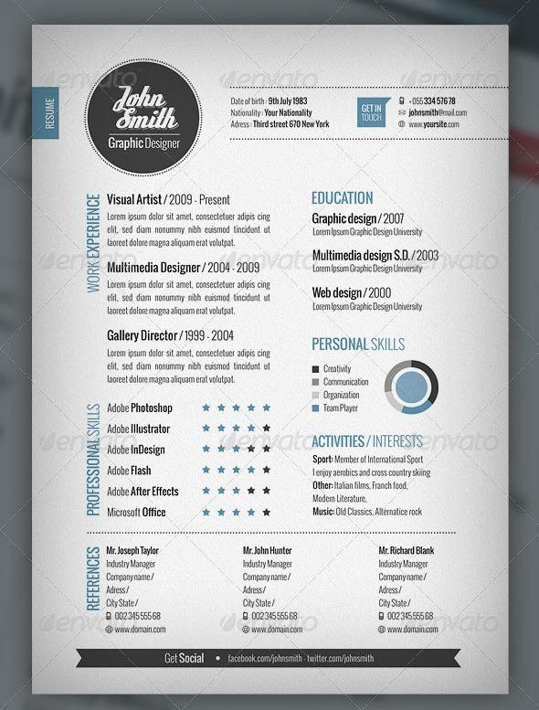 creative cv template with cover letter and references word ...