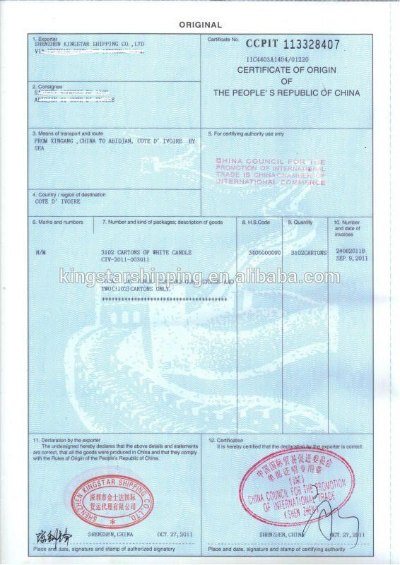 Certificate Of Origin Form, Certificate Of Origin Form Suppliers ...