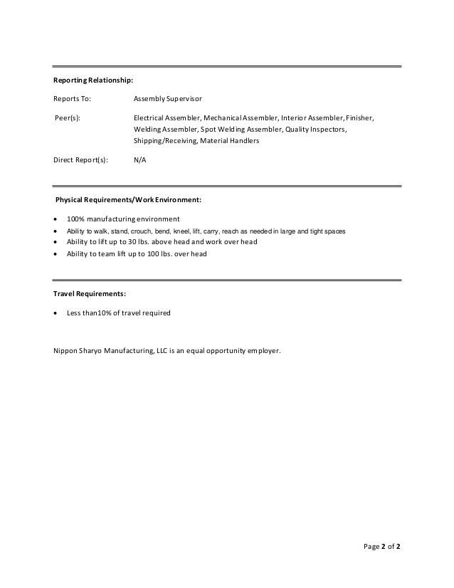 Lead Interior Assembler - Job Description - 091511