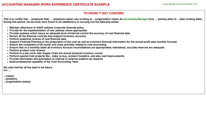 Accounting Manager Work Experience Letters