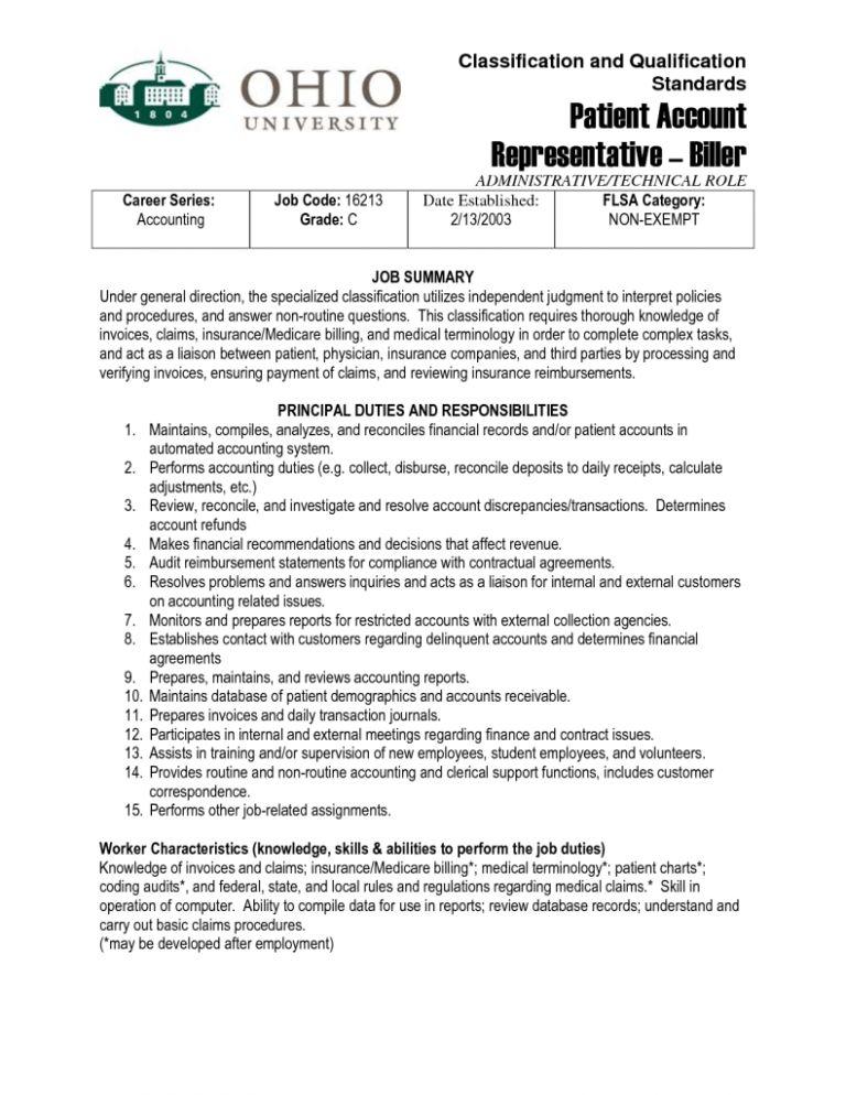 patient accounts representative job description patient account