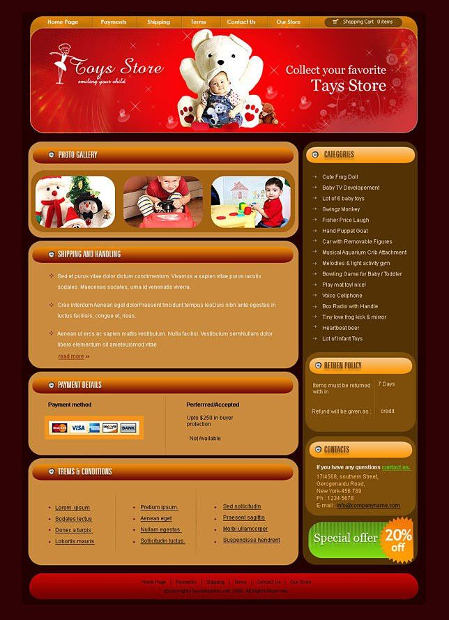 Download kids toy shops html templates