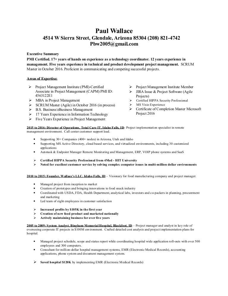 Paul Wallace PMI Certified - Agile Resume