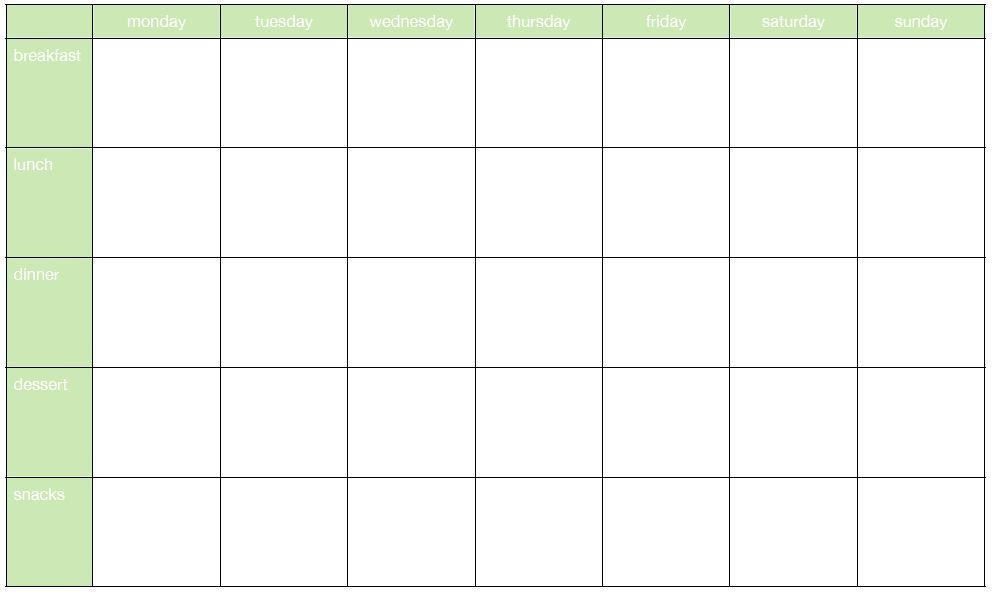 Diet Plan Calendar Template - Plus belle la vie (PBLV)