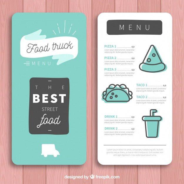 Minimalist food truck menu template Vector | Free Download