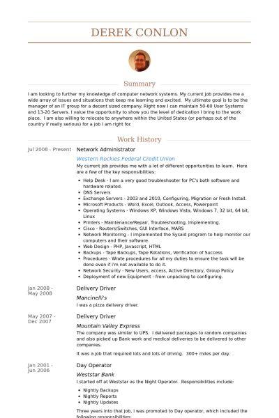 Network Administrator Resume samples - VisualCV resume samples ...