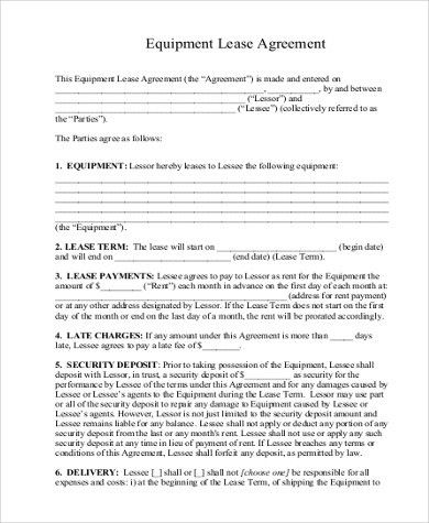 Sample Leasing Agreement. Sample Lease Agreement Template Word 8+ ...