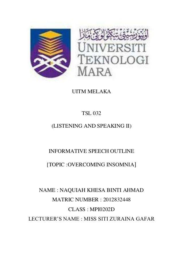 Informative speech outline (overcome insomnia)