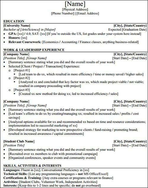 investment banker resume sample investment banking resume